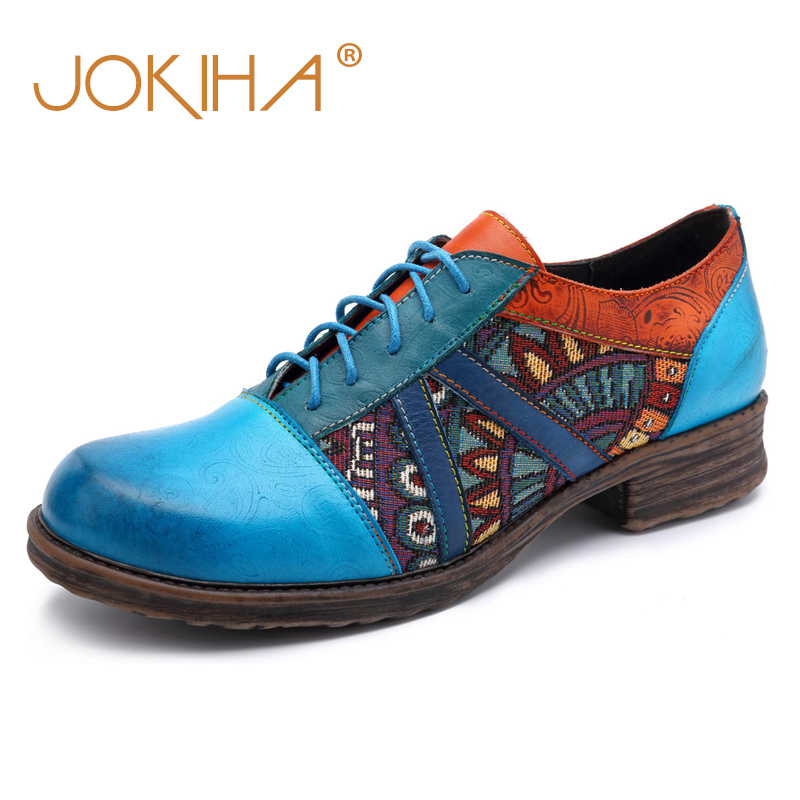 2019 Spring Summer Women Brogue Shoes Genuine Leather Mixed Color Woman Flats Shoes Casual Fashion Blue