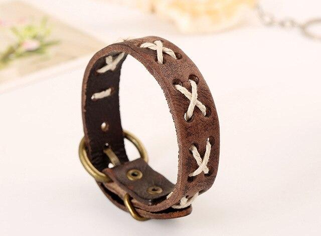 Men's Bracelet Cow Leather...