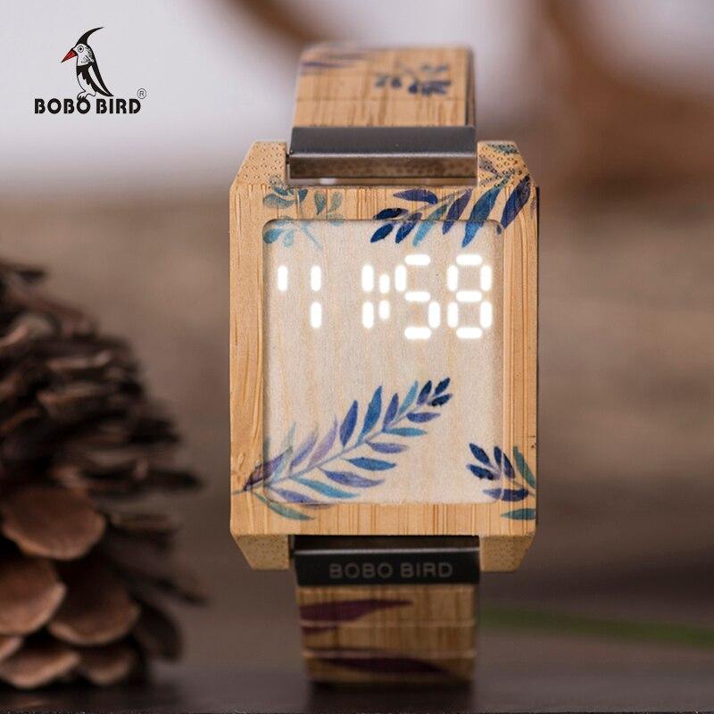 цена на BOBO BIRD Men Digital Watch Natural Bamboo Wristwatches Touch Screen LED Display Relogio Masculino With Bamboo Box Drop Shipping