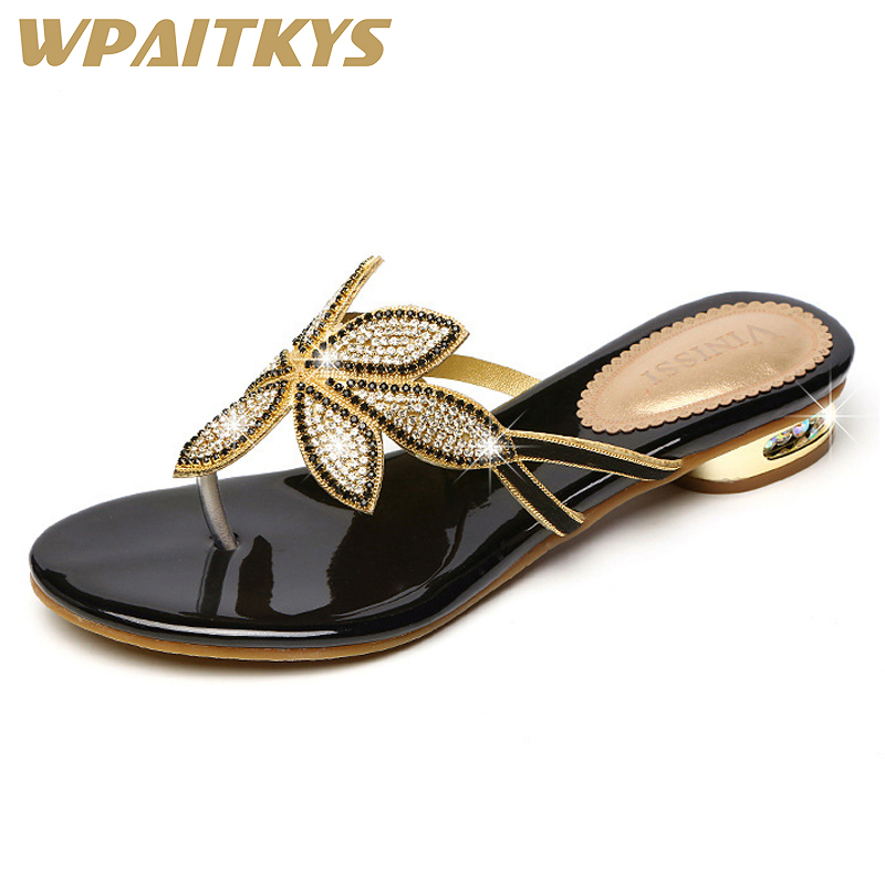 2018 Elegant Golden Black Two Colors Available Women Low Heel Rhinestone Sandals Crystal Leather Casual Shoes