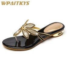 Купить с кэшбэком 2018 Elegant Golden Black Two Colors Available Women Low Heel Rhinestone Sandals Crystal Leather Casual Shoes Women Wedding