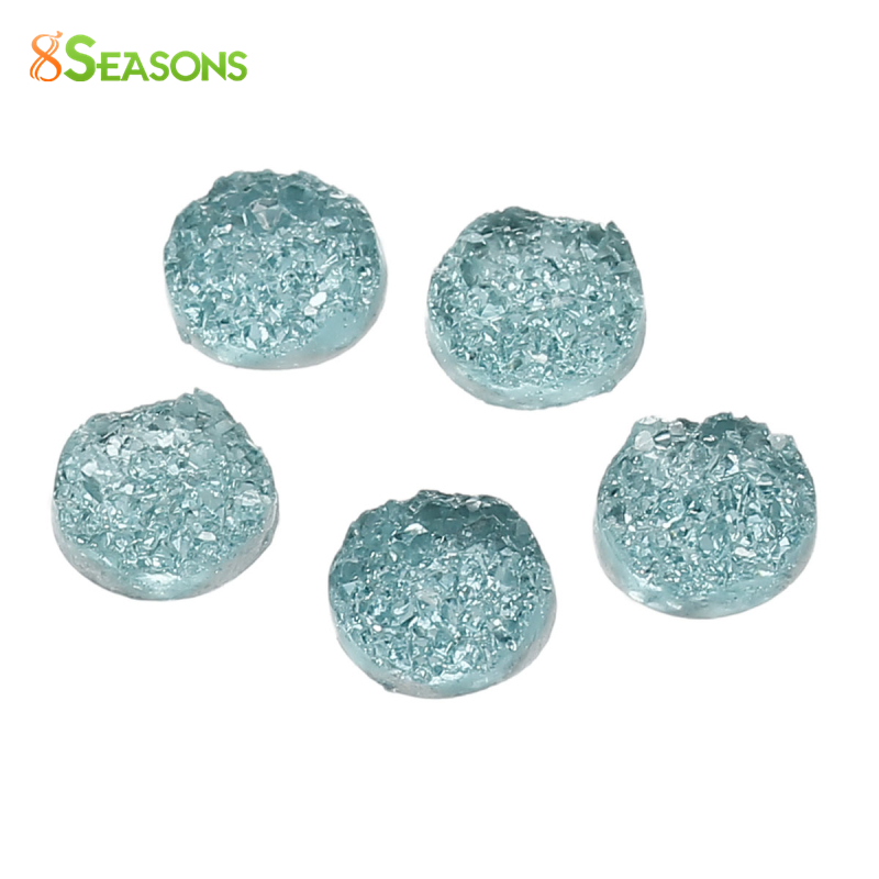 8SEASONS drusy Resin Dome Seals Cabochon Round Mint Green AB Color /Purple /Red /Green /Blue /Yellow 12mm( 4/8) Dia, 20 PCs image