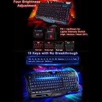 Russian/English Backlit Keyboard USB Wired Colorful Breathing Waterproof Computer Gaming Keyboard Computer Gamer Keyboard