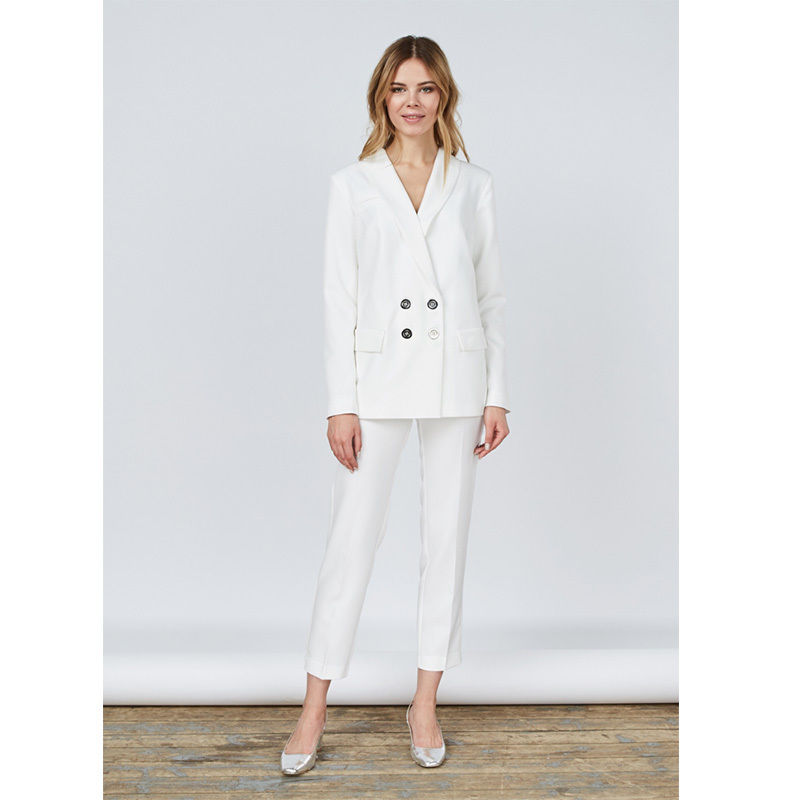 Blanc Double boutonnage femme bureau uniforme Slim Fit femmes d'affaires costumes dames Tuxedos B245