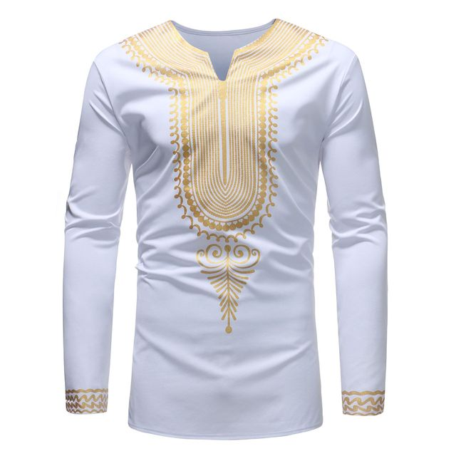 Mens African Dashiki Traditional Print Shirt Blouse Cotton Fashion Bazin Riche Long Sleeve Shirt For Men Male Top Africa Clothes