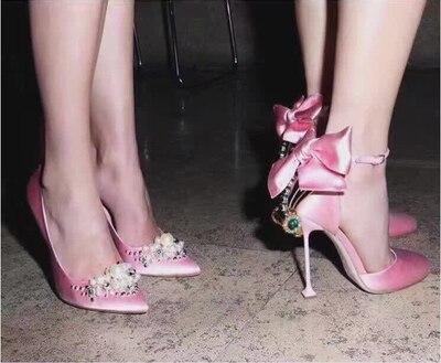 Tacon De Bout Femme Pour Pointu Sandales Femmes Talons Strass Noir Bowknot D'été rouge Parti Pompes Hauts rose Mujer Mariage Rouge Zapatos Chaussures Noir AwqwtWXg