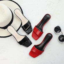 New Summer 2019 Shoes Woman Mid Square Heel Slippers Flats Women Sexy Solid Black Red Outside Beach Sandals Sexy Flip Flops Shoe(China)