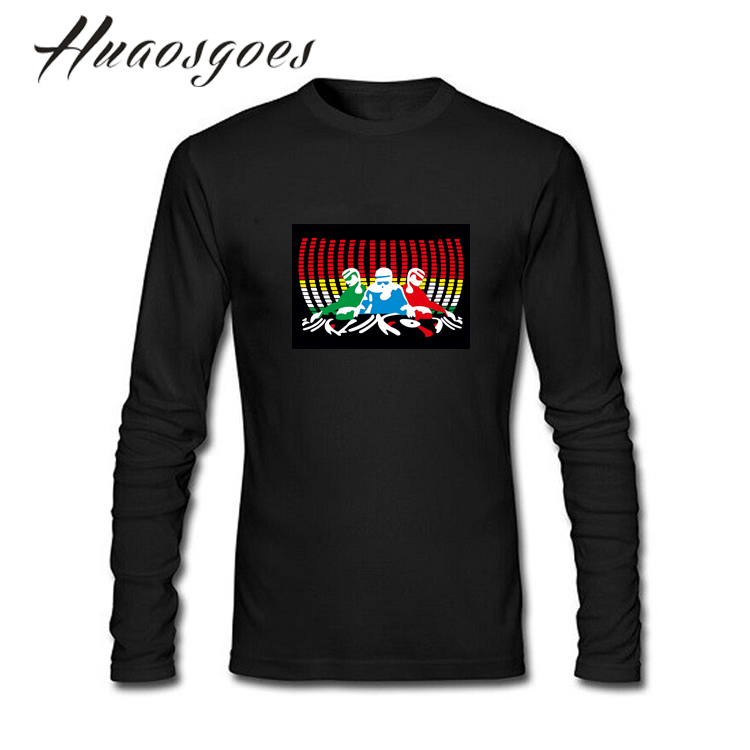 Hot Sale EL LED T shirt Long Sleeve O neck Unisex Sound Activated T-shirt Cotton Tees Tops Brand tshirt Plus size S- XXXL For DJ