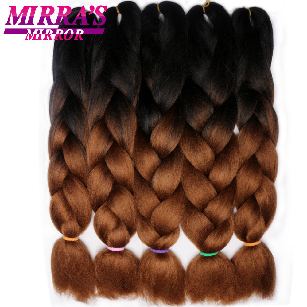 Mirra's Mirror Jumbo Braids Crochet Hair Ombre Braiding Hair Extensions Synthetic Hair Extension For Braids 24inches 100g/pack