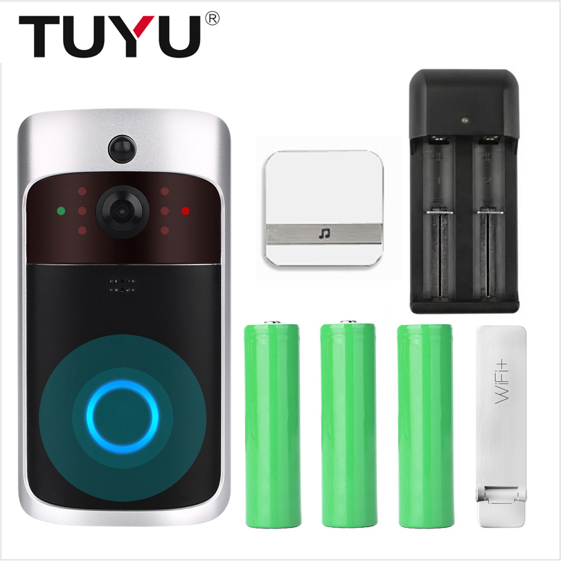 TUYU Night Vision Smart WiFi Video Visual Intercom Doorbell Camera With Chime IP Door Bell Wireless Home Security Camera