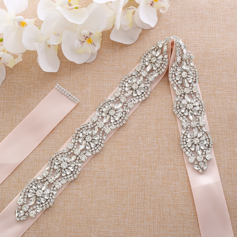 Rhinestones Bridal Sash Silver Crystal Flower Bridal Belt  Diamond Wedding Belt For Wedding Dresses A190S