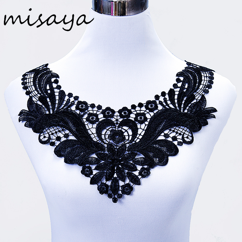Misaya 1pc milk silk embroidered lace trim neckline fabric for Embroidered lace wedding dress