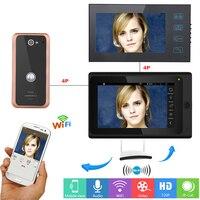 2 Monitores de 7 polegadas Sem Fio/Com Fio IP Wi-fi Sistema de Entrada de Vídeo Porta Telefone Campainha Intercom com Liga de Alumínio 1000TVL Câmera com fio