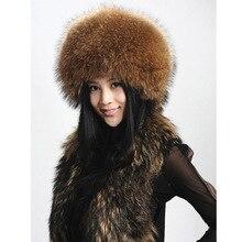 Горячая распродажа зима супер теплый высокое качество женщины природный настоящее енот меховая шапка мода шапки с девушкой из натурального меха шляпы бесплатная доставка