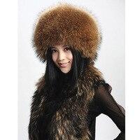 Vendita calda di inverno super caldo di alta qualità delle donne naturale reale Pelliccia di procione cappello di modo ricopre femminile genuino cappelli di pelliccia di trasporto Libero