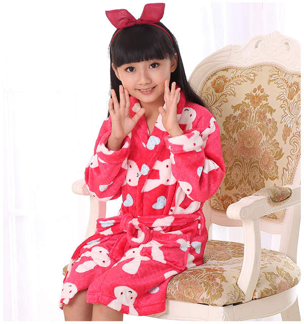 placeholder Kids Flannel Kimono Robe Bathrobe For Teenager Boy Girls Cartoon  Rabbit Strawberry Printed Children Bath Robe 435309994