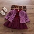 Бесплатная доставка детская одежда девочек, осень детская одежда ребенка принцесса 100% кардиган хлопок свитер сладкий все-матч
