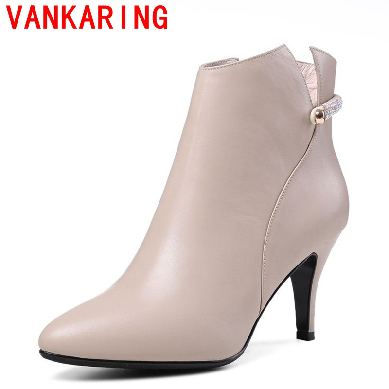 ФОТО VANKARING  shoes 2017 women ankle boots European and American style side zipper rhinestone decoration fashion pointed toe boots