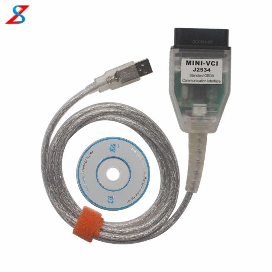 Prix pour Moins cher MINI VCI pour TOYOTA Unique Support de Câble pour Toyota TIS OEM Logiciel De Diagnostic de Haute performance avec BRAS CPU à l'intérieur