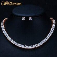 CWWZircons Klassische Prinzessin Cut Zirkonia Steine Rose Gold Braut Choker Halskette Schmuck Set für Frauen Hochzeit Partei T202