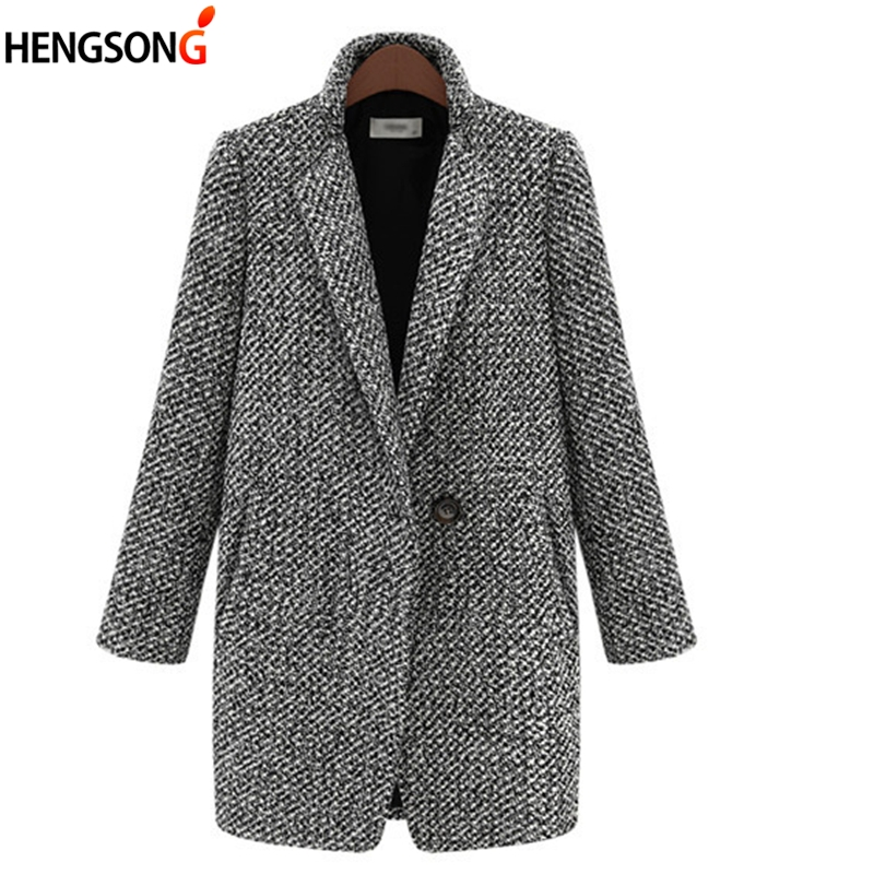 Autumn Winter Suit Women Coat Houndstooth Wool Blend Coat Single Button Pocket Oversize Long Trench Outerwear Female Wool Coat