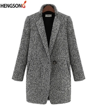 Autumn Winter Suit Women Coat Houndstooth Wool Blend Coat Si