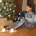 Sistema de dos piezas de top y pantalones de chándal de terciopelo mujeres chándales 2016 invierno mujer pantalones trajes casuales basculador conjunto D38-AD09