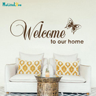 Welcome To Our Home Butterfly Sticker Quote Decal Home Window Front Door Decoration Reception Sign B926