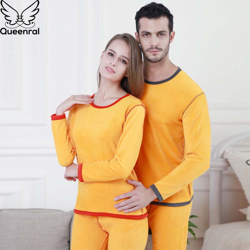 Queenral Thicker Velvet Winter Thermal Underwear Sets For Women/Male Second Skin Winter 's Warm Long Johns Lover thermal 5XL 6XL