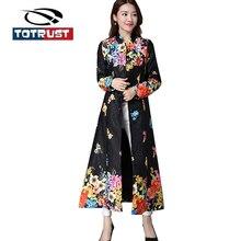 Здесь можно купить  TOTRUST Black Vintage Floral Print Trench Coat For Women Flower 2017 Fashion Long Sleeve Trench Elegant Cardigan Casual Overcoat