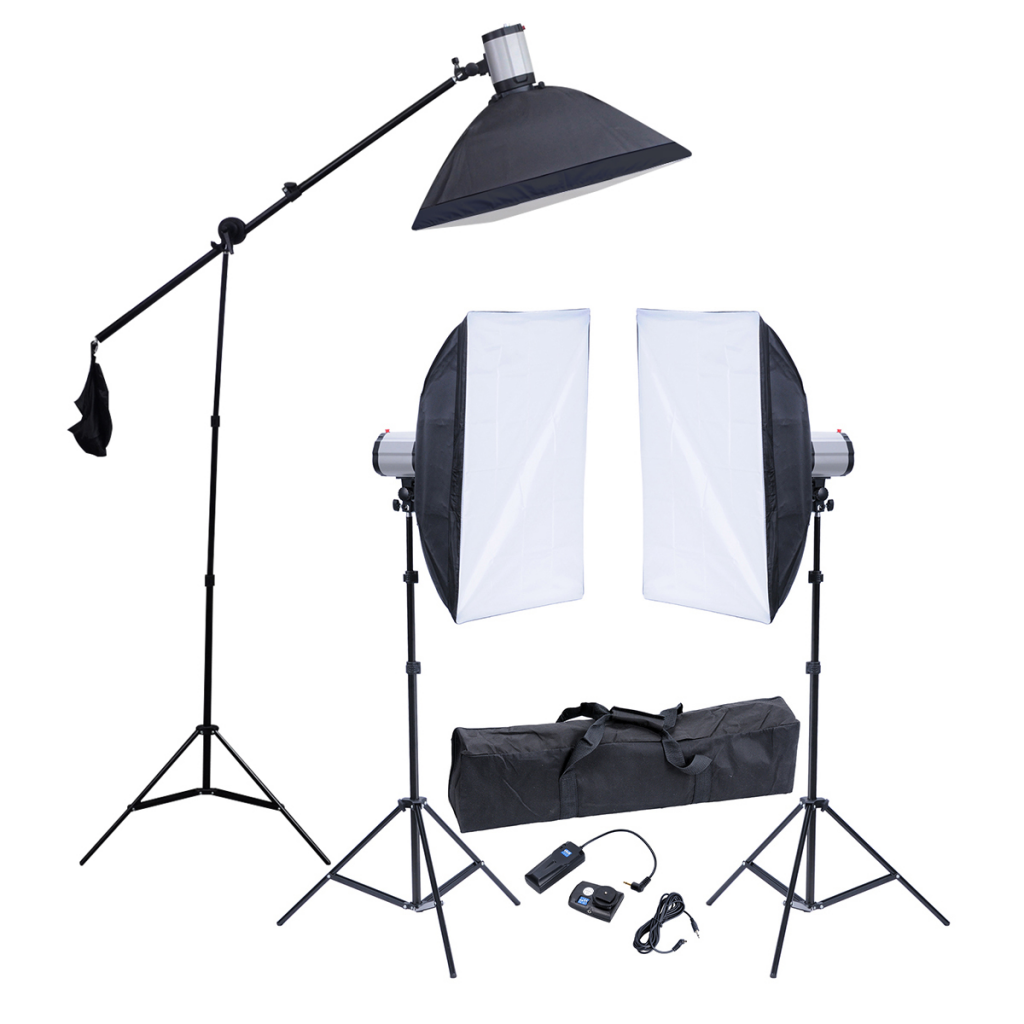 Aliexpress Buy Photography Accessory 3 Flash Lights 3 Softboxes 2 Normal Tripods 1 Boom