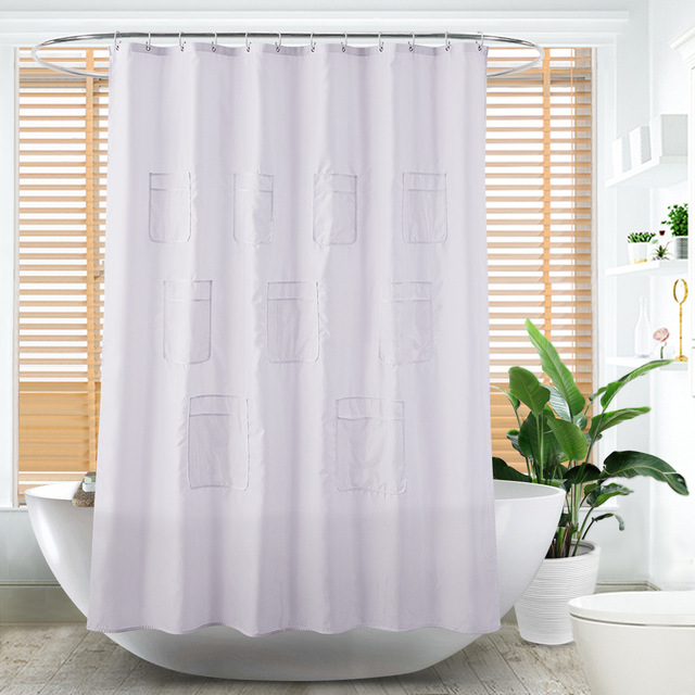 Multi Function Bathroom Mesh Pockets Shower Curtain Clear Purpose Translucent Waterproof Mildew
