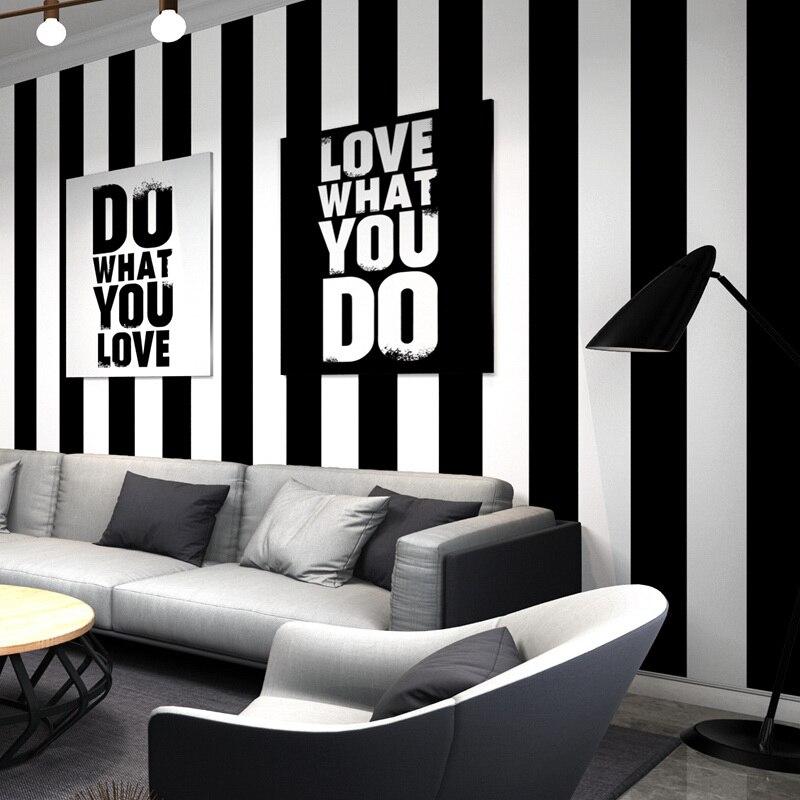 Black White Striped Non-woven Wall paper Decor Modern Living ...