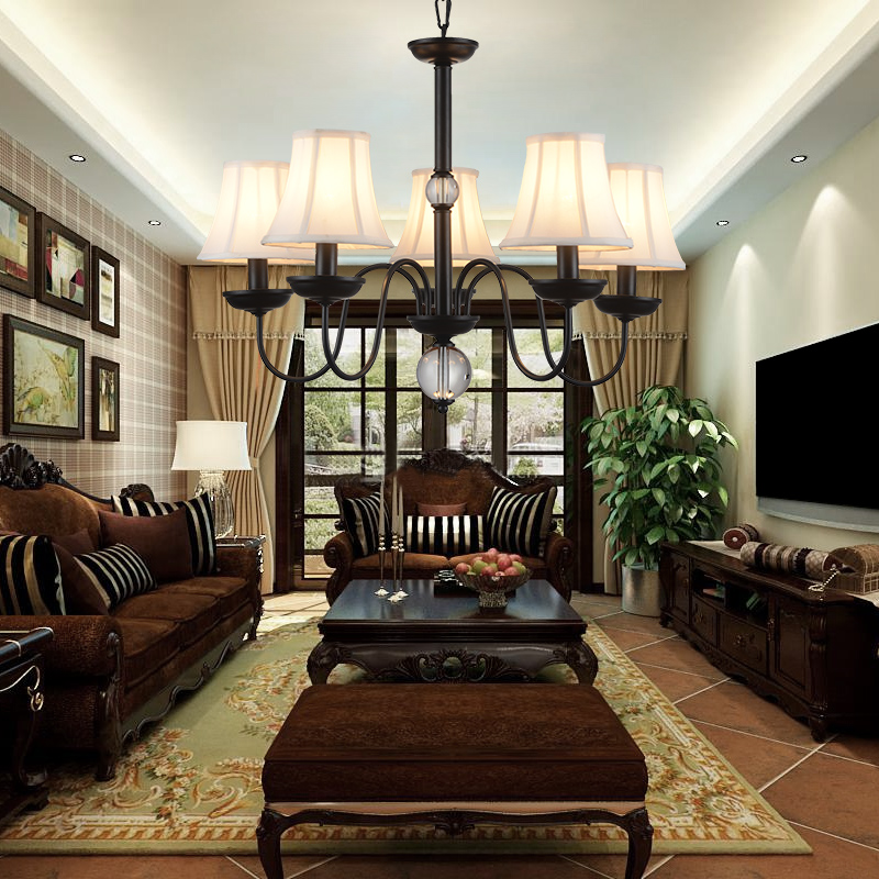 American country European style Simple Iron chandelier Linen chandelier Living room lamp Restaurant lamp Bedroom lamp american iron ceiling chandelier modern european bedroom living room lamp restaurant 3 5 6 8 circulars milky lampshade wall lamp