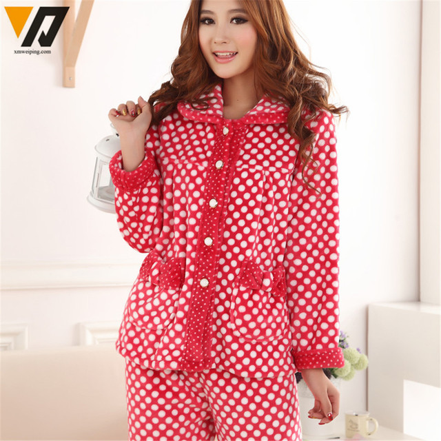 Aliexpress.com : Buy New Winter Female Thick Coral Velvet Pajamas ...