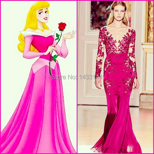 Princess Fuschia Floor Length Liques Evening Dresses 2017 Y Sheer Lace Chiffon Wedding Guest Formal Gowns Vestido In From Weddings