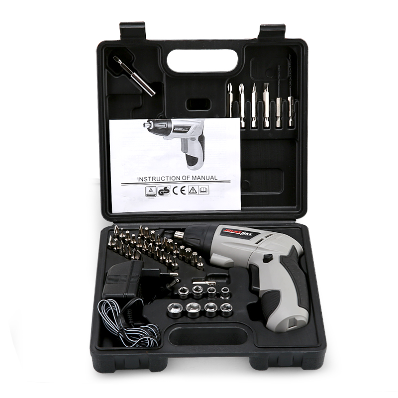 4.8VLithium Battery*2 Torque Electric Drill bit cordless Electric Screwdriver hand wrench with plastic case carry tool box set dropshipping 4 8v electric screwdriver set multifunctional rechargeable hand drill household cordless drill with carry case