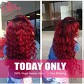 Ombre Brazilian Hair 3 Bundles Red And Black Ombre Weave Red Hair Bundles With Closure Tissage Bresilinne Ombre Brazilian Hair