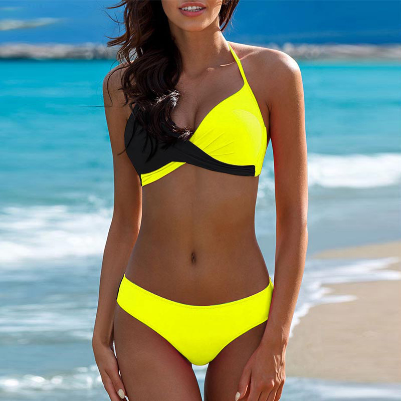 Bikini 2019 Swimwear Women Push Up Swimsuit Sexy Thong Bikini Halter Swim Suit Fashion Girls Pad Wire Free Swimming Wear Fitness in Bikinis Set from Sports Entertainment