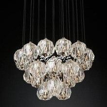 Modern LED Ceiling Light Fixture Flush Mount Crystal Hanging Lamp Cristal Drop Light for Living Dining Room Bed Room Decoration