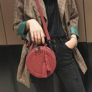 Image 5 - Vintage Peeling Leder Umhängetasche umhängetasche für Frauen Runde Mode Quaste Umhängetasche Weibliche Casual Tote Taschen Heißer Verkauf Sac