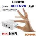 4 Canal Mini gravação de vídeo em Rede IP Câmera 1080 P/720 P CCTV detecção De Movimento de Apoio NVR Onvif P2P plug and play do sistema de segurança