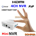 4 Canales Mini Red de grabación de vídeo de la Cámara IP 1080 P/720 P Apoyo de detección de Movimiento P2P de Onvif CCTV NVR sistema de seguridad plug and play