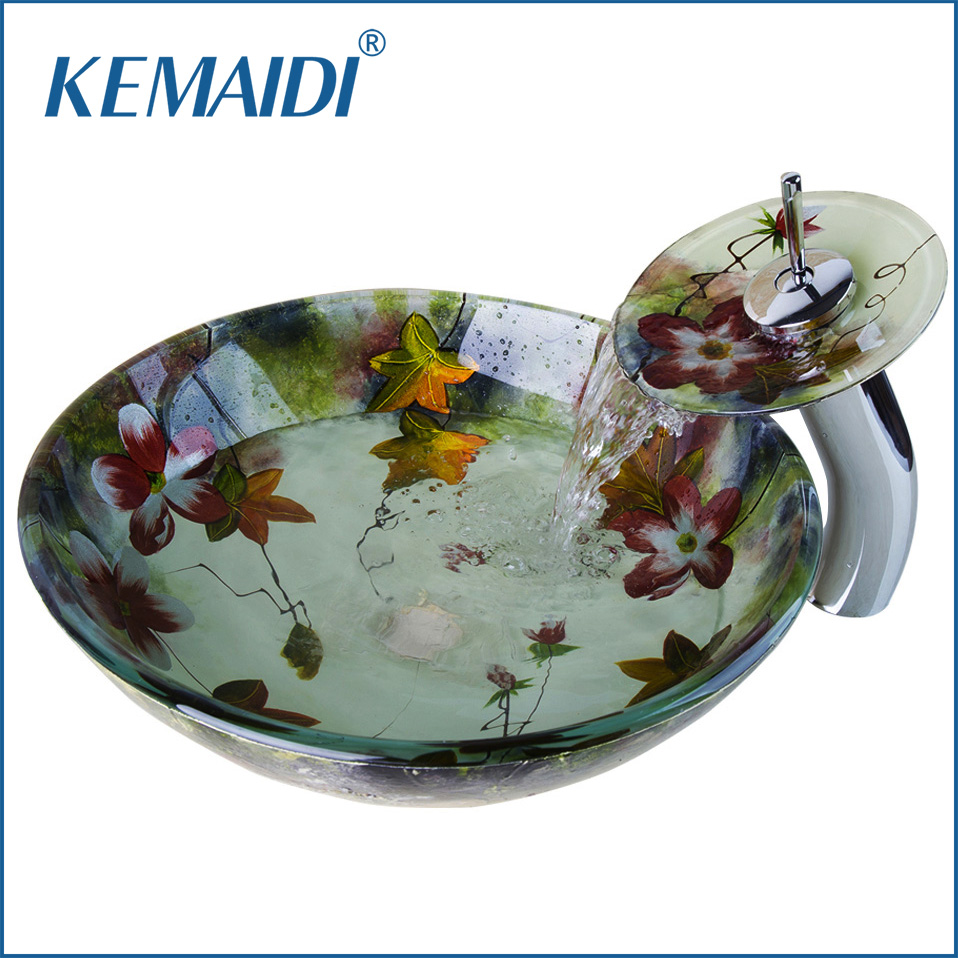 KEMAIDI New Bathroom Art Round Washbasin Tempered Glass Vessel Sink Hand Painting Wash Basin With Waterfall Chrome Faucet Set countertop sink painting round bathroom faucet art washbasin tempered glass vessel sink with brass faucet sets