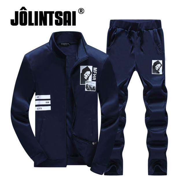Jolintsai Spring Zipper Sweatshirts Men's Casual Suits 2017 Sudaderas Hombre Hoodie Fleece+Sweatpants Sweat Suit M-4XL Set