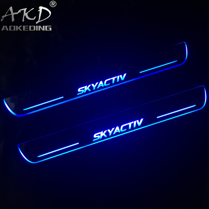AKD 4PCS Acrylic Moving <font><b>LED</b></font> Welcome Pedal Car Scuff Plate Pedal Door Sill Pathway Light For <font><b>Mazda</b></font> <font><b>6</b></font> 2015 2016 2017 2018 image