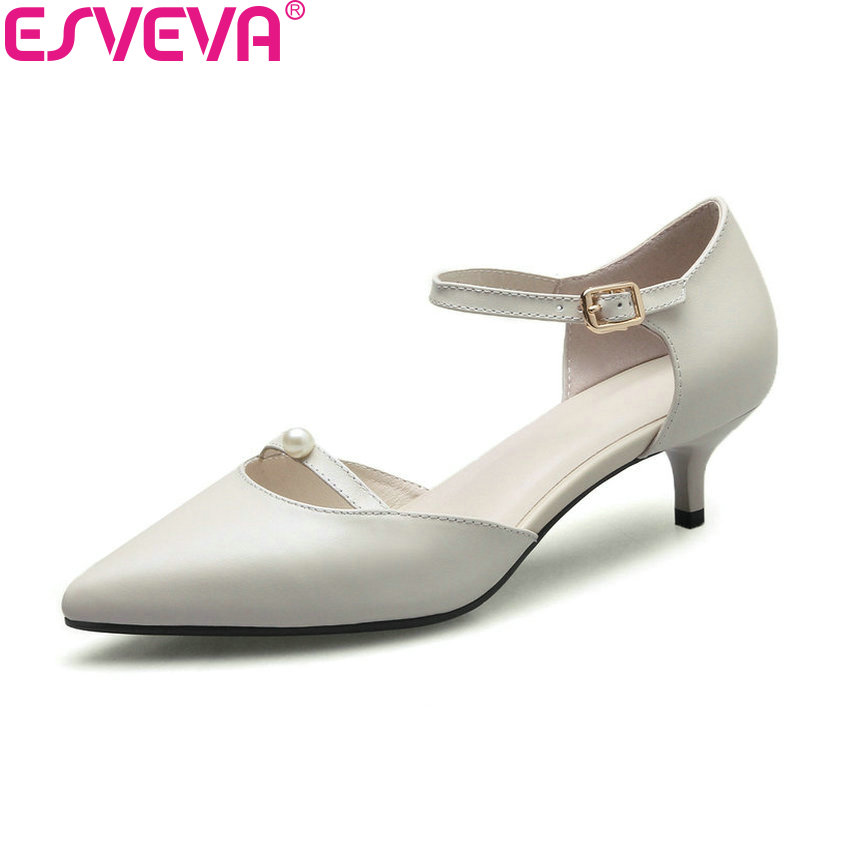 ESVEVA 2018 Women Pumps Med Heels Two-piece Buckle Strap PU Slim Look Thin Heels Pointed Toe Pumps Shoes for Women Size 34-41 shofoo 2017 new arrive women mature med heels pointed toe buckle strap pumps dress