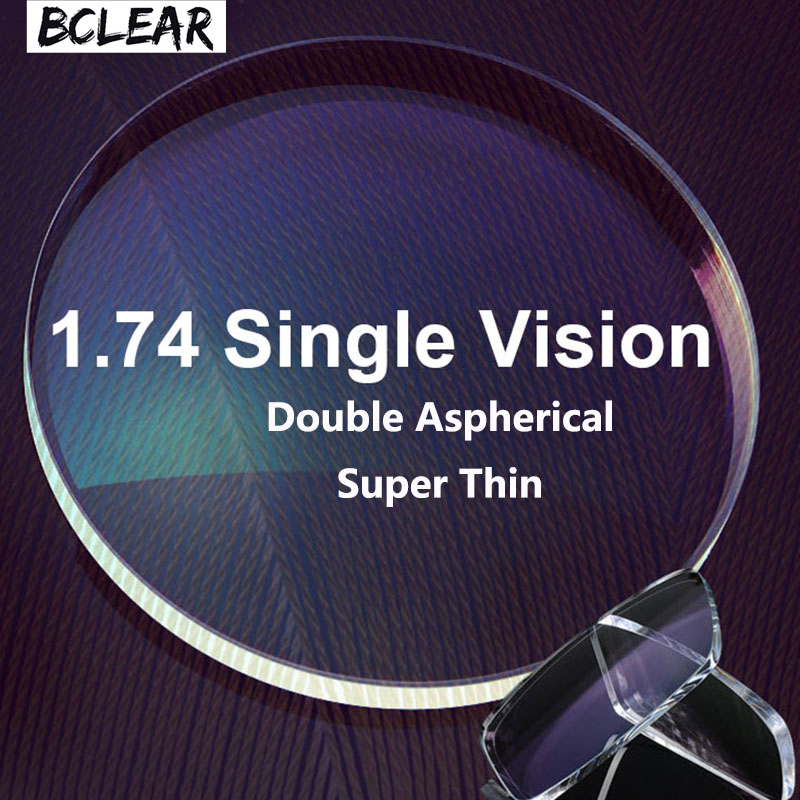 BCLEAR 1.74 Double Aspherical Diopter Lenses High Index Super Thin Aspheric Optical Prescription Lenses For Myopia GlassesEyewear Accessories   -