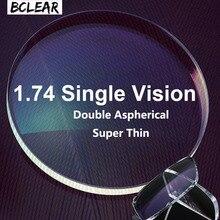 BCLEAR 1.74 çift asferik Diopter lensler yüksek endeksi süper ince asferik optik reçete Lens miyopi gözlük için