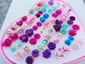 36pairs/lot Mix Colors Resin Flower Fashion Kids Girls Stud Earrings Jewelry With Heart Box